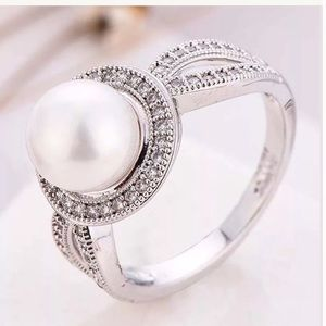 Jewelry - 10k White gold filled 925 sterling pearl ring